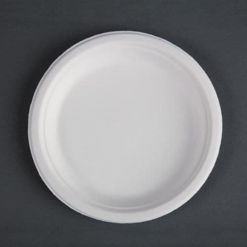 CW905 Fiesta Green Compostable Bagasse Plates Round 179mm (Pack of 50)